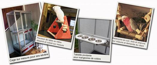 cages, volières, perchoirs et jouets pour perroquets et perruches sur mesure